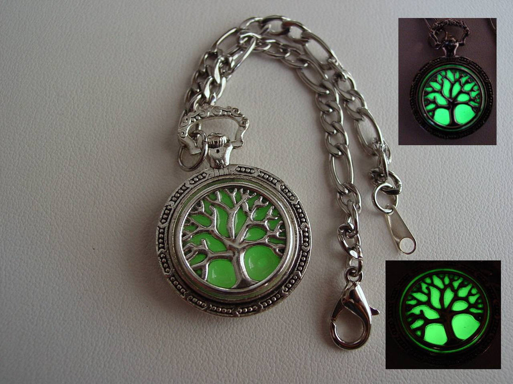 Glow In The Dark Heavy Duty Chain Family Tree Of Life Charm Bracelet ~ Glowing Charm Bracelet Bright Green Glow