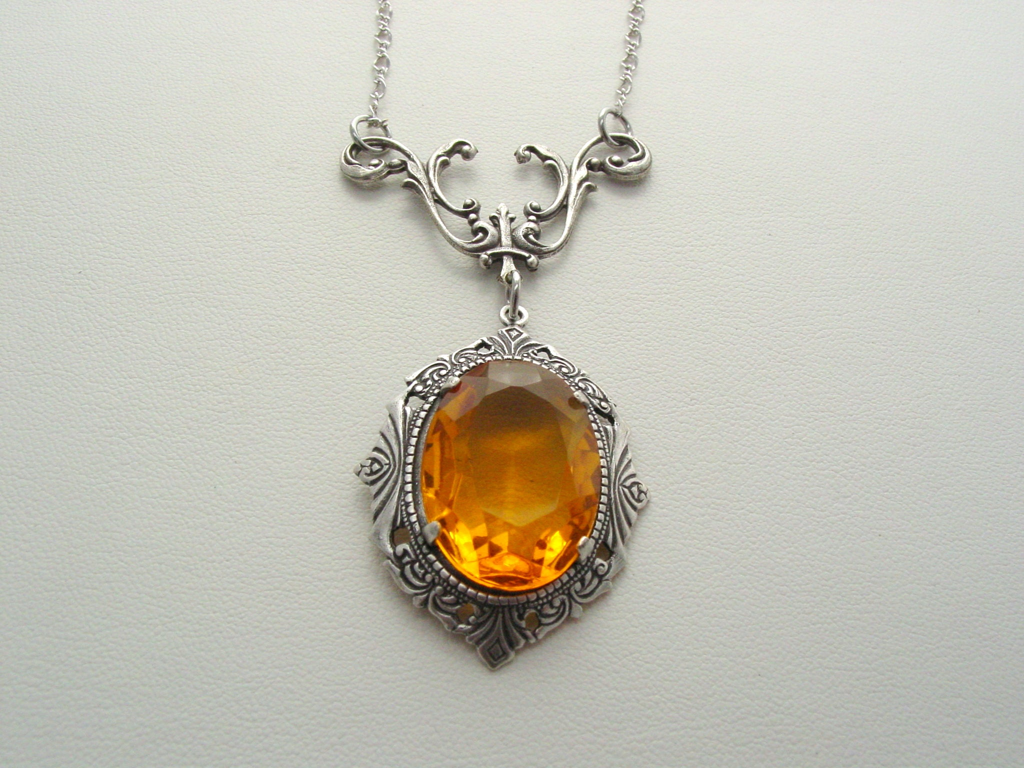 Art Nouveau Topaz Drop Necklace Vintage Czech Glass Oxidized Finish Necklace