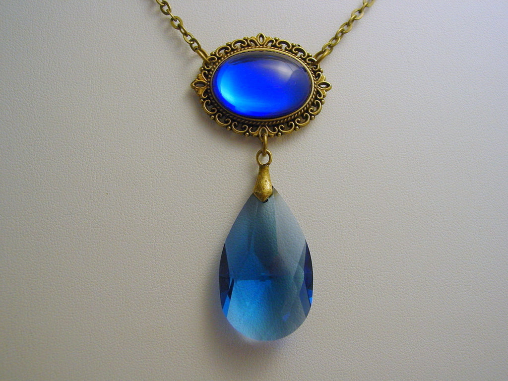 Witches of East End Sapphire Blue Pre-Cursed Necklace Smooth Teardrop Wendy's Blue Pre-Cursed Drop Pendant