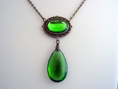 Witches of East End Green Crystal Teardrop Necklace Wendy's Green Peridot Drop Pendant