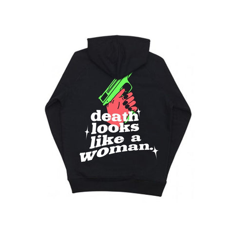 DEATH LOOKS LIKE A WOMAN - Hoodie noir