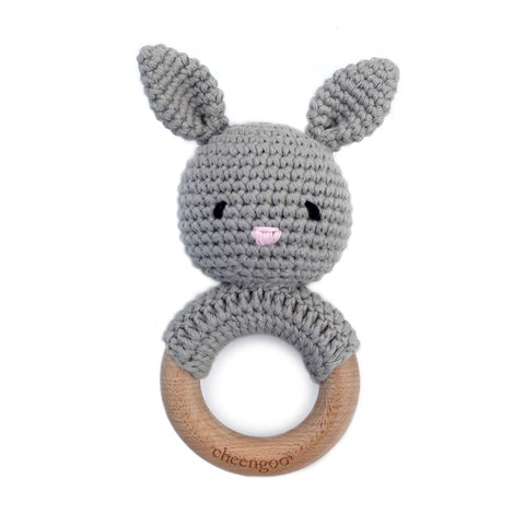 Wooden and Crochet Bunny Teething Ring Rattle