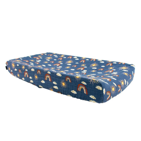 Classic Cotton Muslin Changing Pad Cover - Hello Sunshine