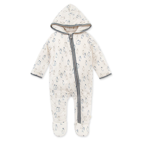 Penguin Pals Zip Front Hooded Organic Baby Bunting