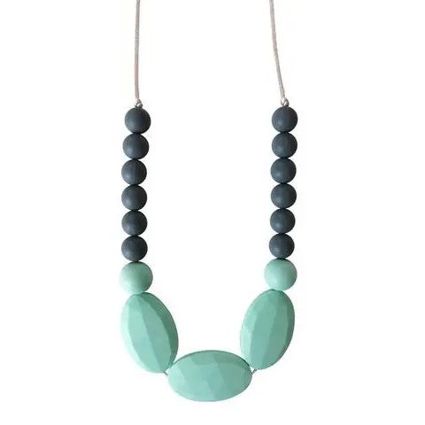 Teething necklace made of Grey and mint colored silicone beads on a satin cord