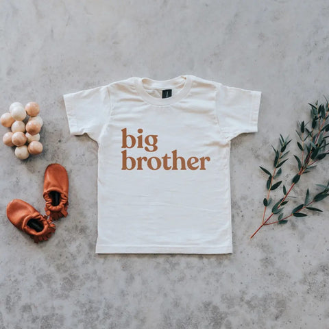 Gladfolk Organic Big Brother Graphic Kids Tee in Cream with Camel Ink