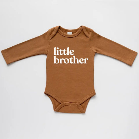 Gladfolk organic little brother long-sleeved baby bodysuit in camel with white ink