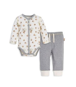 Organic Falling Acorn Long Sleeve Bodysuit & Pants Set