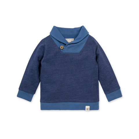 Organic Huckleberry French Terry Shawl Collar Sweatshirt