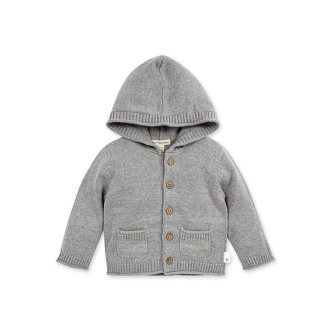 Organic Heather Grey Cardigan Sweater Knit Hoodie