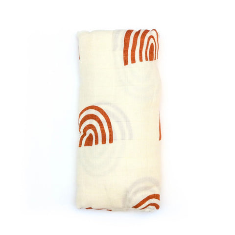 Bamboo/Cotton Muslin Swaddle - Retro Rainbow