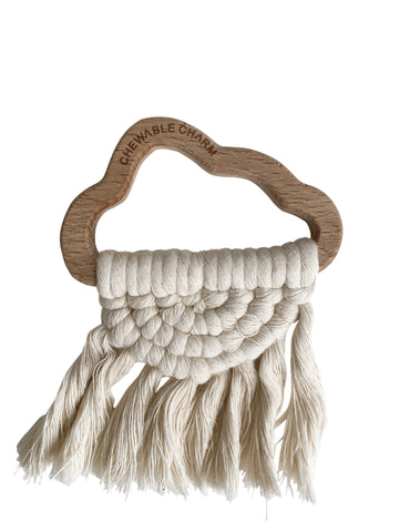 Organic Cloud Macrame Wood Teether Toy