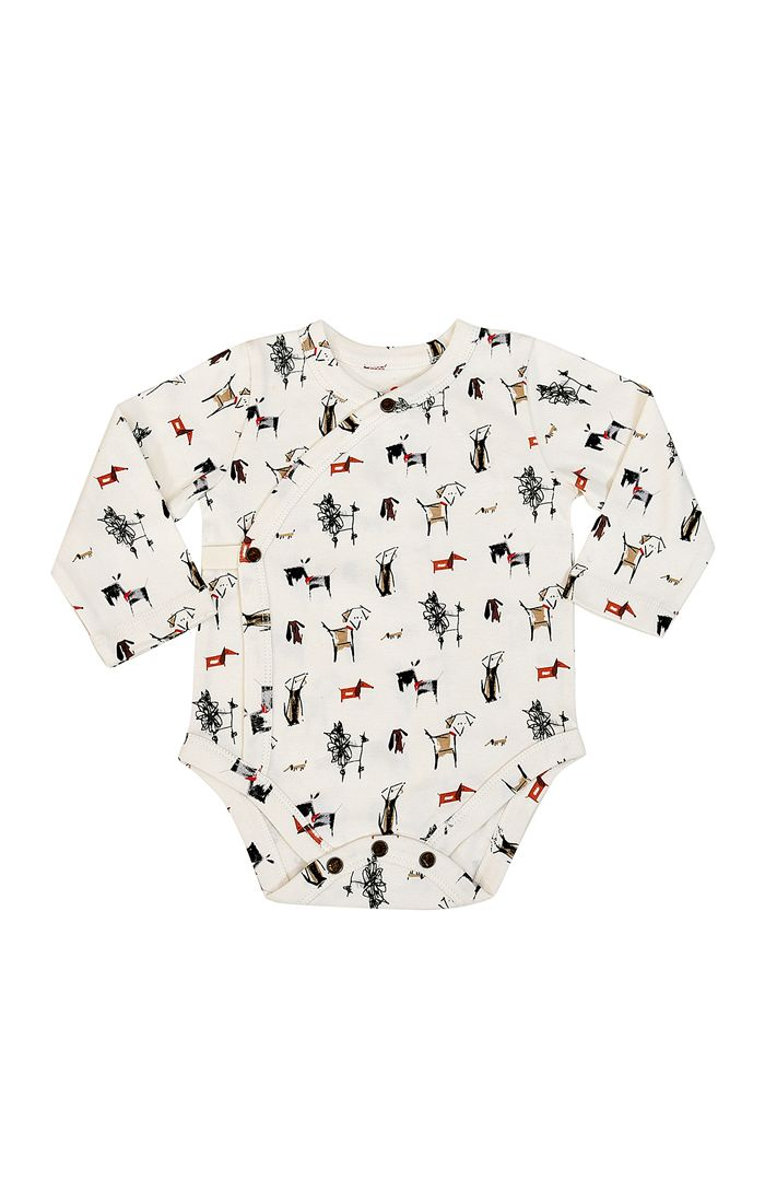 NEW! Organic Long Sleeve Kimono Snap Bodysuit - Dogs Collection