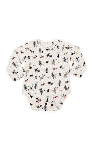 Organic Long Sleeve Kimono Snap Bodysuit - Dogs Collection
