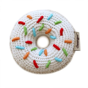 Hand-Crocheted Donut Teething Rattle/Play Food