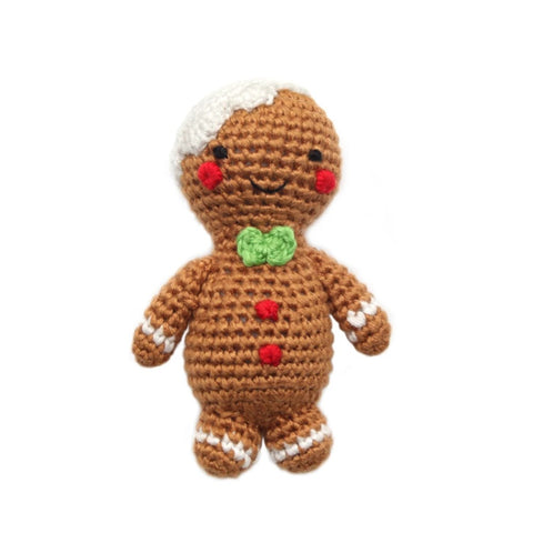 Gingerbread Person Hand Crocheted Teething Rattle