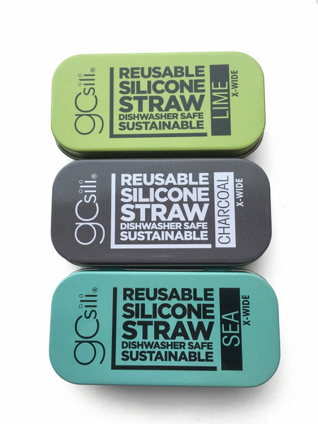 Reusable Silicone Straw in Travel Tin - Extra Wide