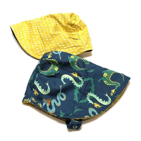 Organic Reversible EcoBonnet Sun Hat - Dragons