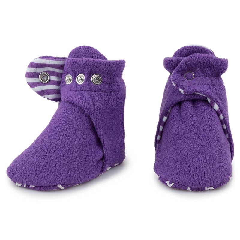 Fleece Baby Booties - Grape