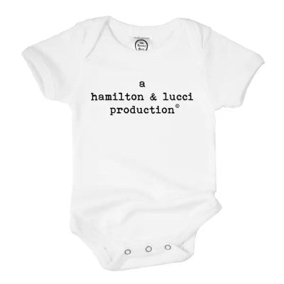 """Joint Production"" Custom-Printed Organic Baby Shower Gift Short-Sleeved Bodysuit"