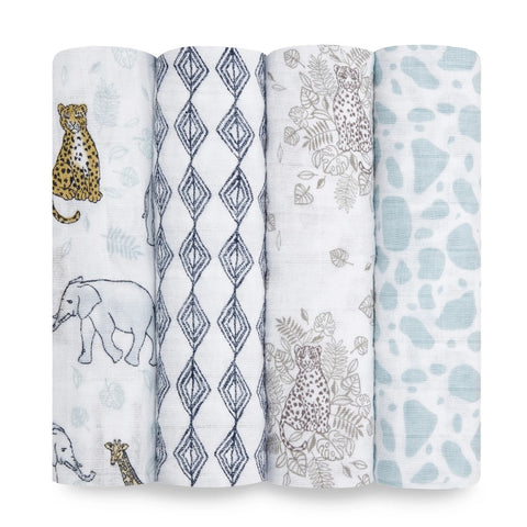 Classic Muslin Swaddle 4 Pack - Jungle