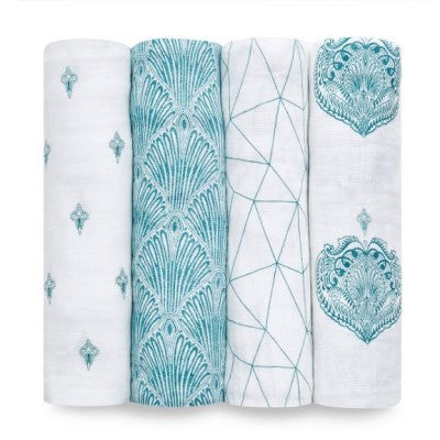 Paisley Teal Classic Muslin Swaddle 4 Pack