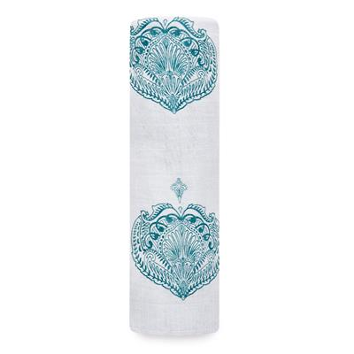 Paisley Teal Classic Muslin Swaddle Single