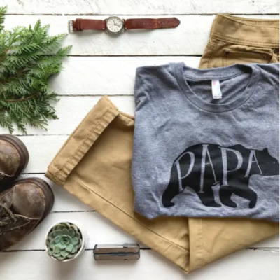 folded papa bear t shirt with pants and accessories