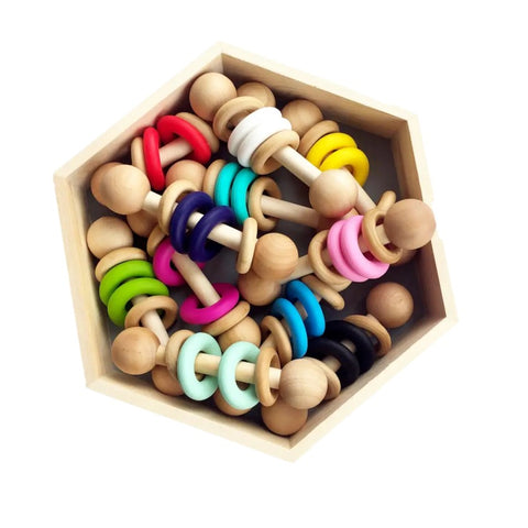 Silicone & Wood Rattle