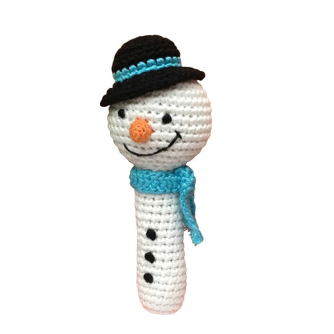Snowman Hand Crocheted Teething Rattle
