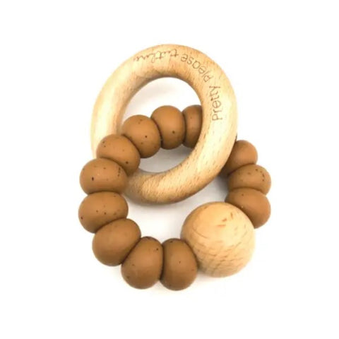 Levi Silicone/Wood Teething Rattle - Speckled Almond