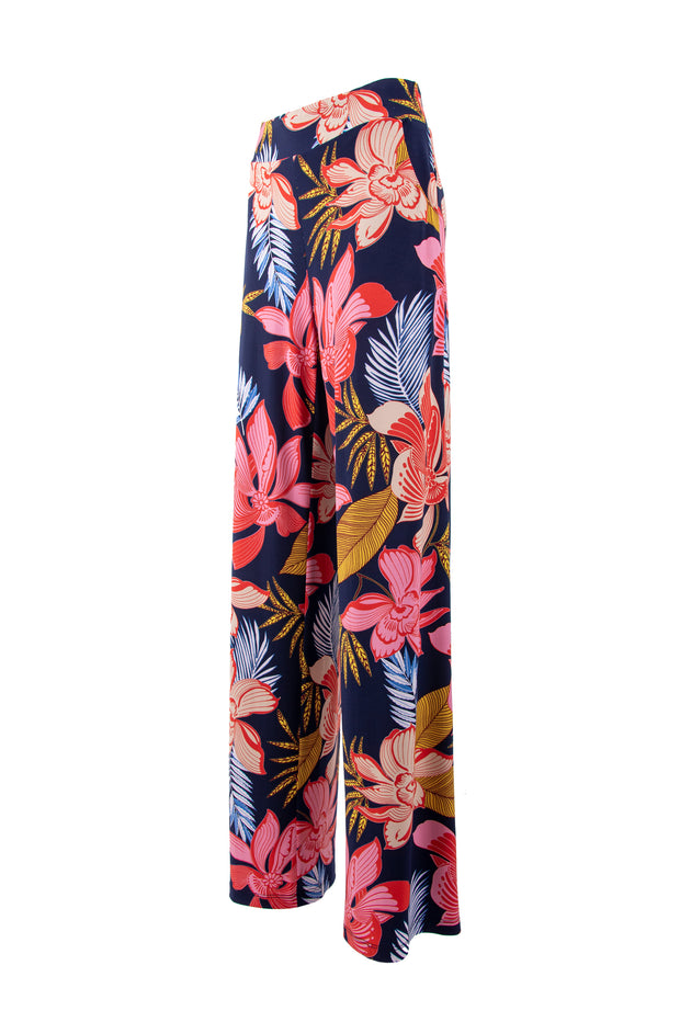 Wide-leg floral print trousers