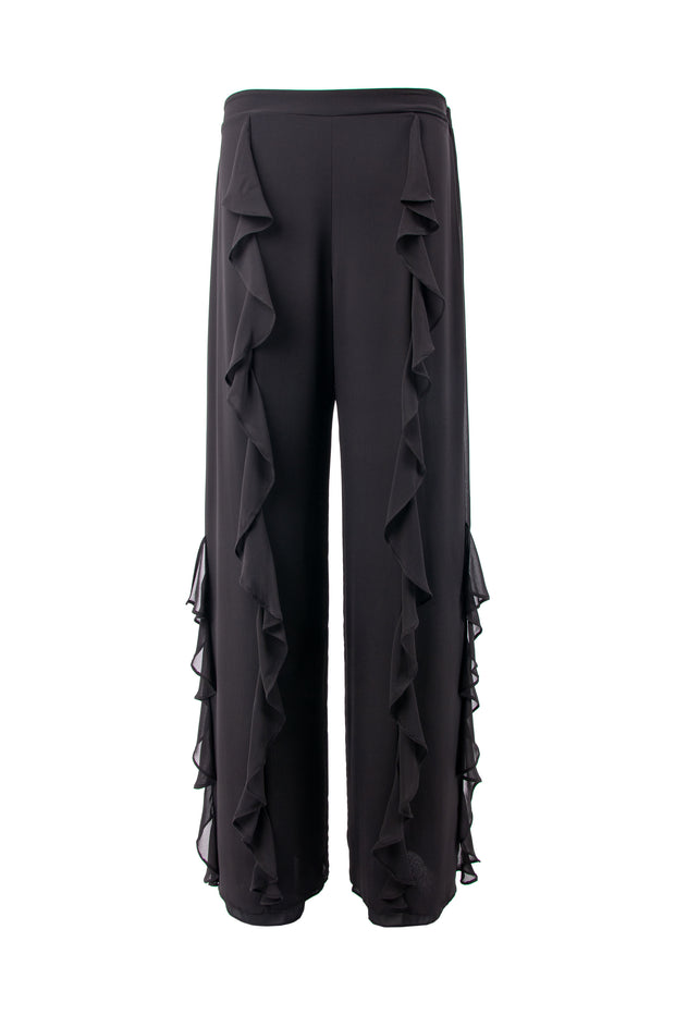 Ruffled straight-leg trousers