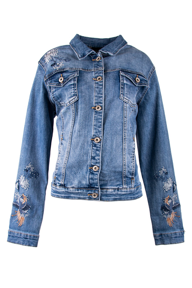 Shirt collar denim jacket