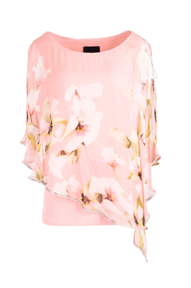 Ruffled floral print pink top