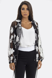 Floral laced hooded jacket