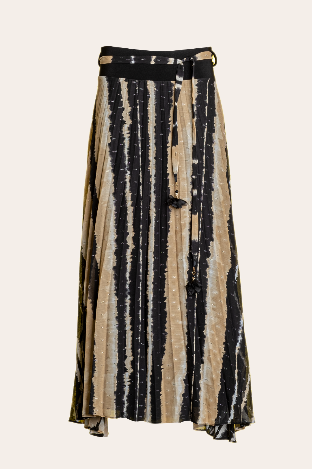 Black And Beige Pleated Long Skirt