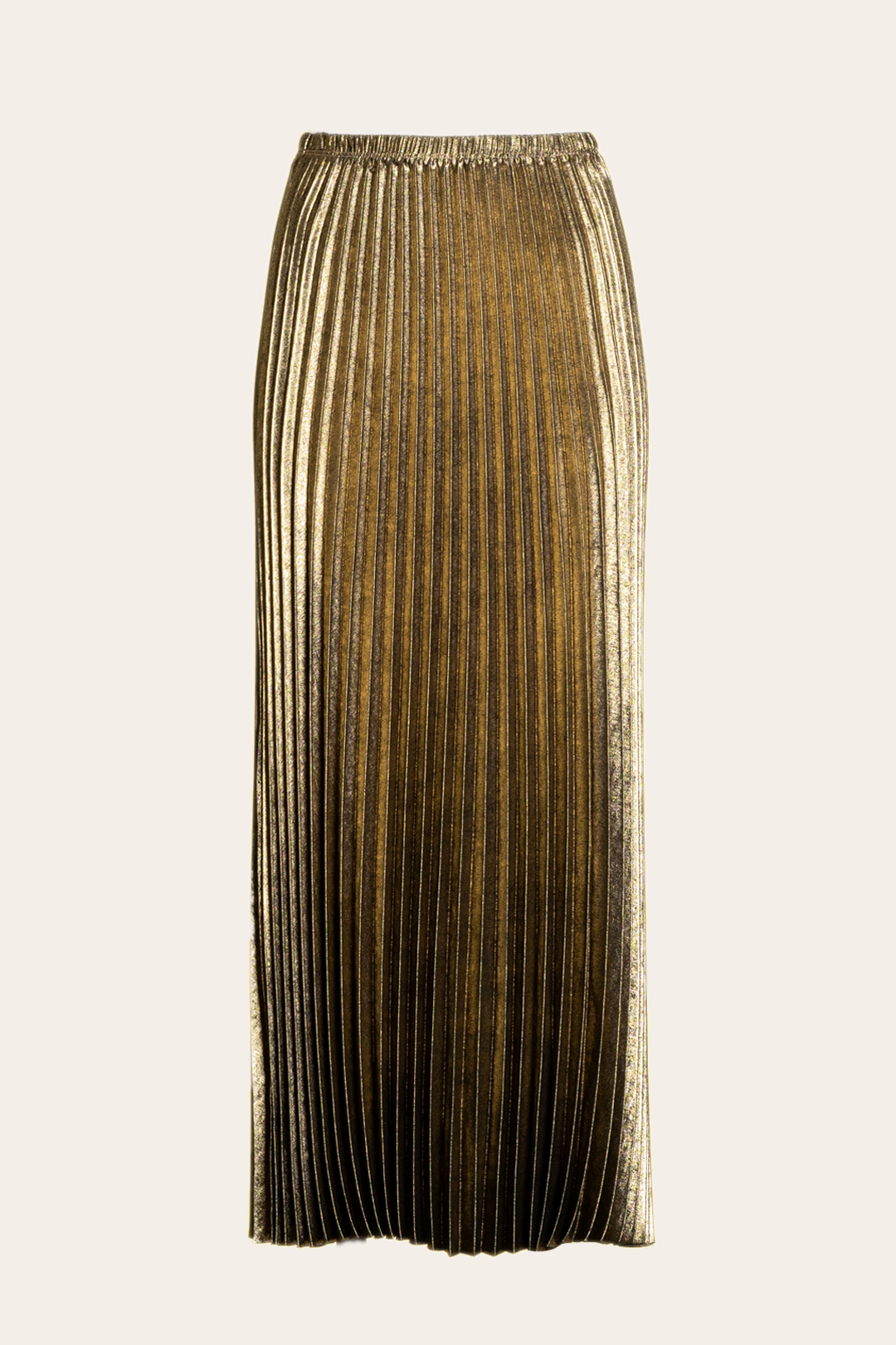 Gold Pleated Long Skirt