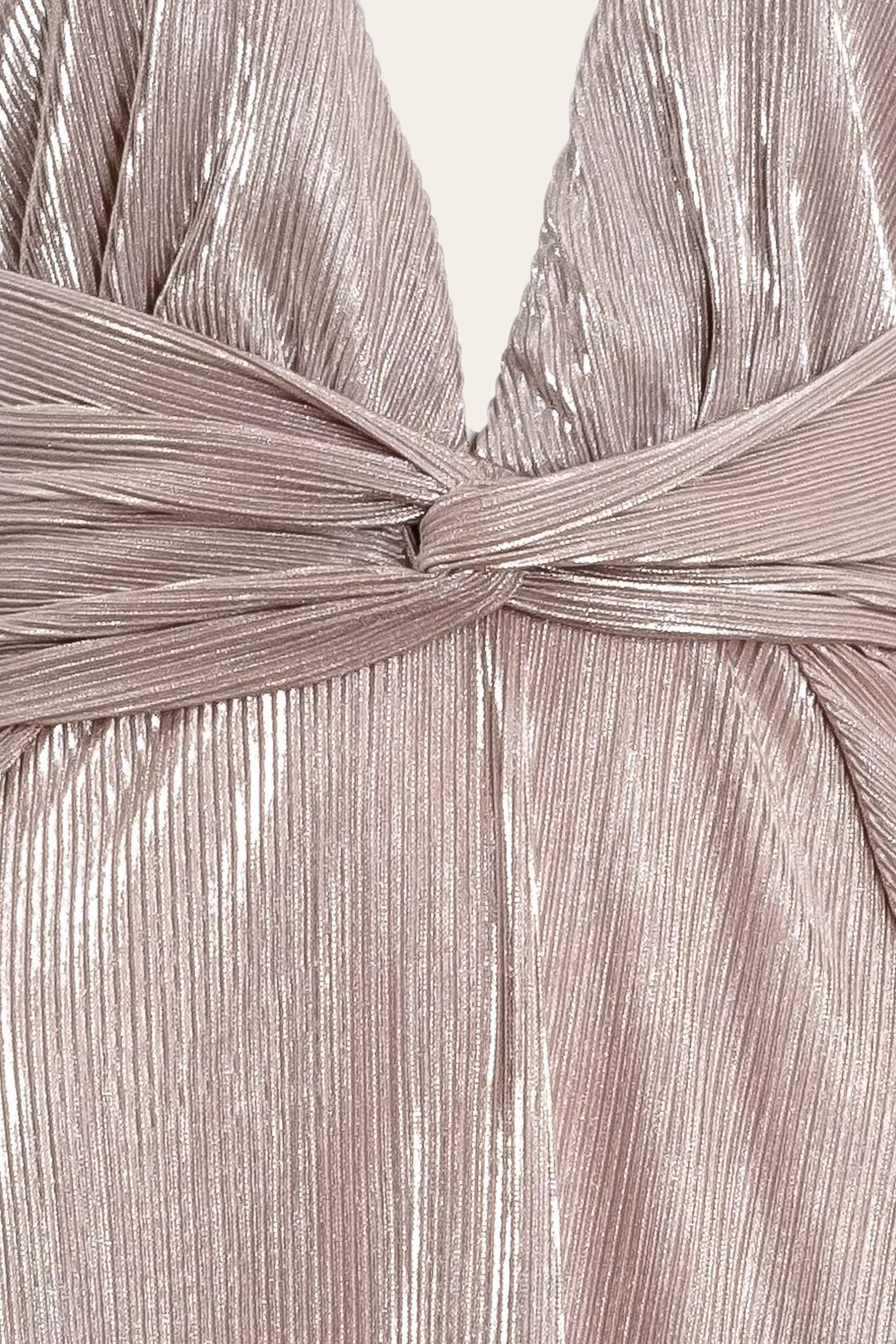 Pleated-Waist Long Metallic Dress
