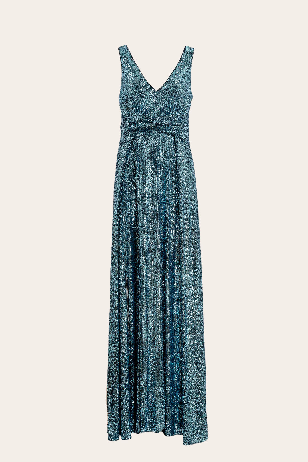 Sleeveless V-Neck Metallic Long Dress