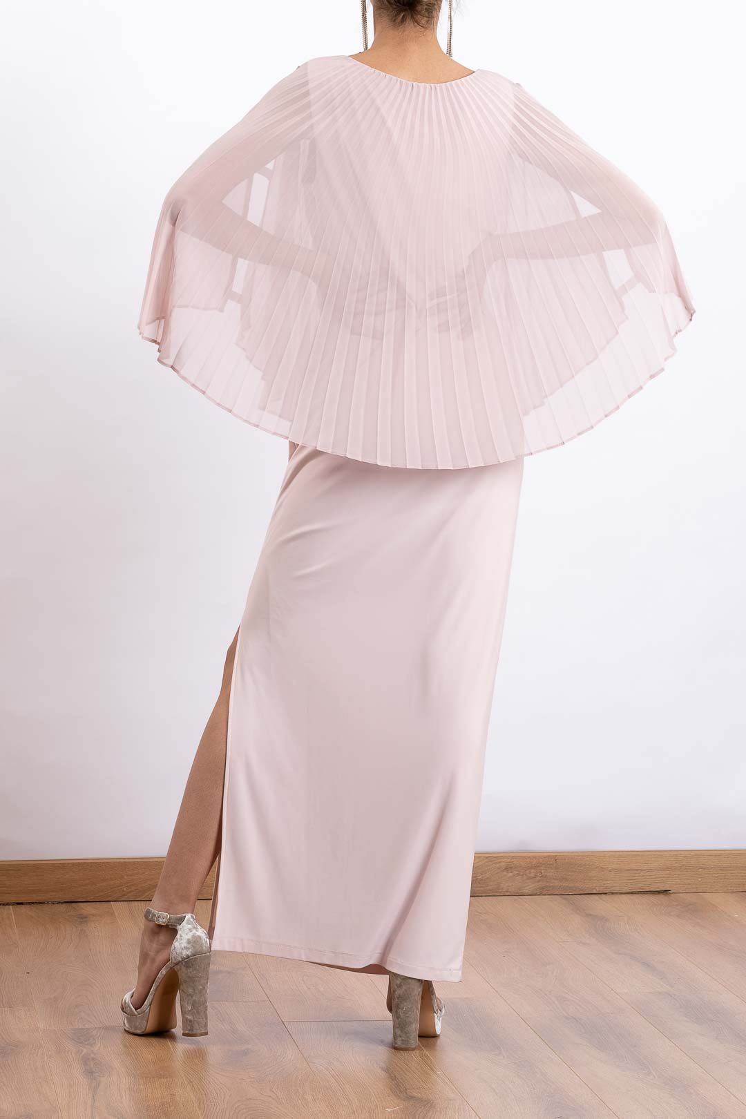 Pleated Cape Style Long Dress