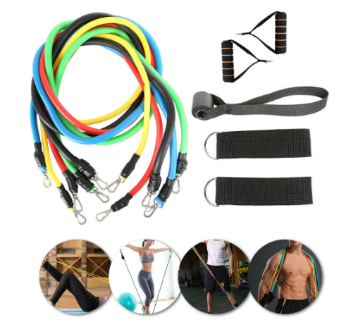 Fitall™ - 11pcs Fitness Rope Exercise Resistance Bands Body Training Workout