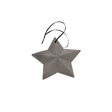 Stern Ornament 13cm grau Zement