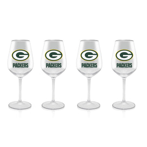 NFL GREEN BAY PACKERS CLEAR PLASTIC STEM WINE GLASS 16 oz. 4 PACKS