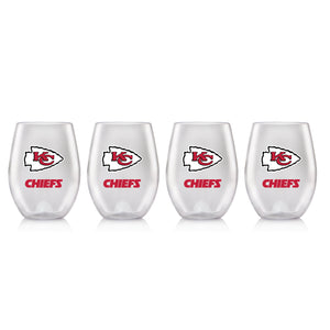 NFL KANSAS CITY CHIEFS CLEAR PLASTIC STEMLESS WINE GLASS 16 oz. 4 PACKS