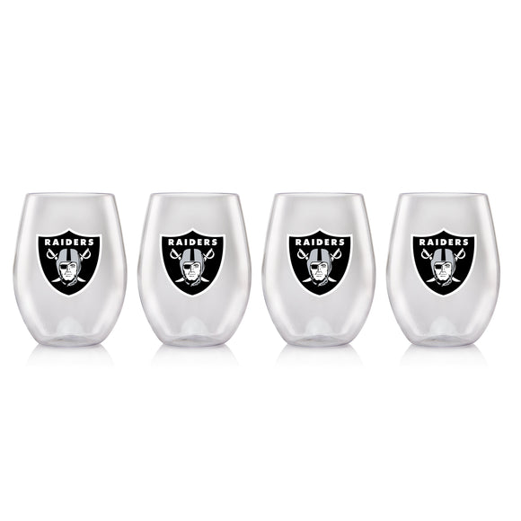 NFL OAKLAND RAIDERS CLEAR PLASTIC STEMLESS WINE GLASS 16 oz. 4 PACKS