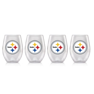 NFL PITTSBURGH STEELERS CLEAR PLASTIC STEMLESS WINE GLASS 16 oz. 4 PACKS