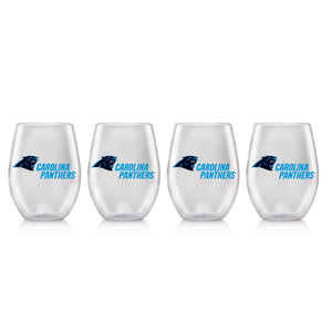 NFL CAROLINA PANTHERS CLEAR PLASTIC STEMLESS WINE GLASS 16 oz. 4 PACKS