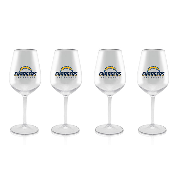 NFL LOS ANGELES CHARGERS CLEAR PLASTIC STEM WINE GLASS 16 oz. 4 PACKS