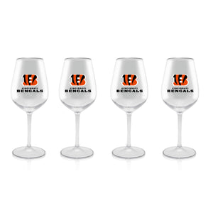 NFL CINCINNATI BENGALS CLEAR PLASTIC STEM WINE GLASS 16 oz. 4 PACKS